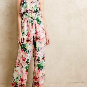 Anthropologie Fleur Wood ikebana floral jumpsuit
